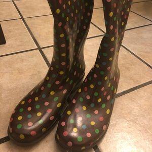 Brown Polka Dot Capelli Rain Boots
